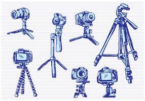Camera Tripod Sketch Drawing Style