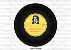 Beethoven Vinyl Single Record Vector Design