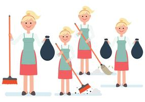 Women Character Vectors Cleaning Up