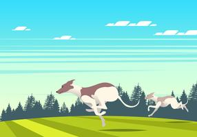 Running Whippet Dog Scene Vector