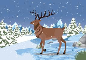 Snow Caribou Background Vector Illustartion