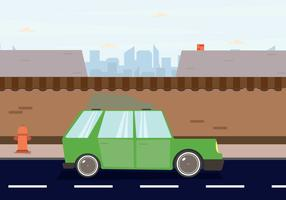 Station Wagon Parked Downtown Illustration