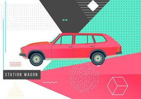 Retro 80s Station Wagon Memphis Vector Illustration