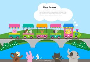 Cute Cartoon Train With Waving Animals