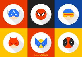 Round Superhero Character Vector Icons