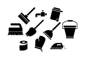 Free Cleaning Tools Silhouette Icon Vector