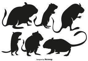 Vector High Quality Gerbil Rodent Silhouettes Set