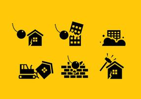Buildings Demolition Icon Free Vector