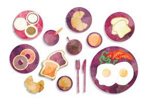 Vector Watercolor Breakfast Illustration