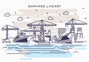 Shipyard Work Lineart Illustration