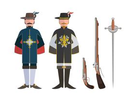 Musketeer Character And Weapon Vector Sets