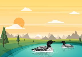 Loon Swimming In The Pond Vector Illustration