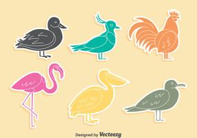 Colored Fowl Silhouette Collection Vector