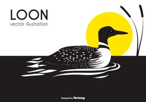 Black And White Loon Bird Vector