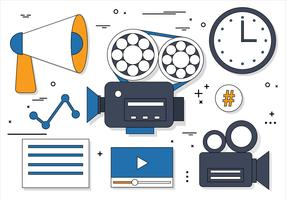 Free Flat Design Vector Online Media Icons