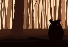 Gerbil Silhouette Forest Free Vector