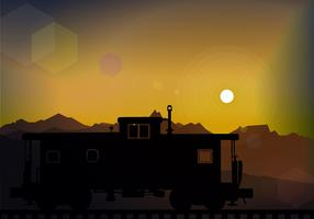 Caboose SIlhouete Sunset Free Vector