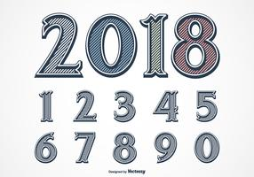 Vintage Etched Vector Font Set Of Gravure Numbers