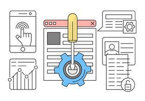 Linear Web Development Vector Illustration