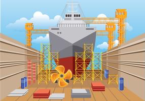 Illustration of Shipyard at Work