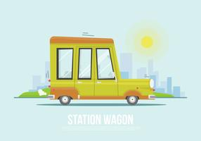 Flat Station Wagon Vector Illustration