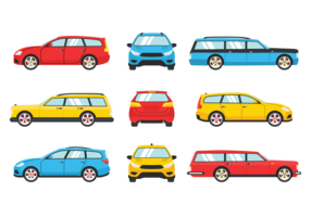Station Wagon Icons Vector