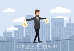 Businessman Tightrope Walker Illustration