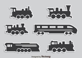 Grey Train Collection Icons Vector