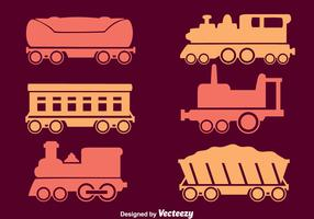 Train Collection Icons Vector