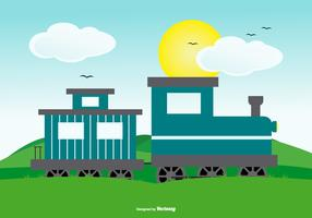 Cute Landscape Scene with Train