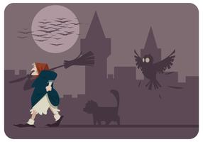 Befana With Her Cat And Owl Vector