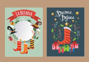 Befana Cards - Italian Christmas Tradition Vectors