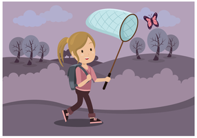 Girl With Butterfly Net Vector