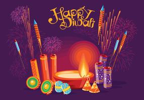 Burning Diya and Fire Cracker on Happy Diwali Holiday Background for Light Festival of India