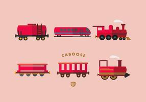 Red Caboose Vector Flat Collection
