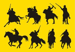 Cavalry Silhouete Set Free Vector