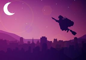 Befana Silhouette Night Free Vector