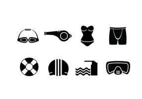 Swimming pool set icons