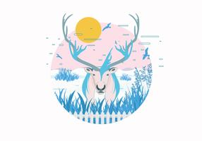 Caribou in Snowfield Vector