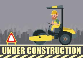 Under Construction Road Roller And Driver Vector