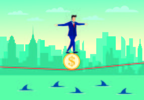 Businessman Walking Tightrope With Confidence Vector