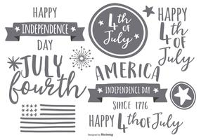Hand Drawn Fourth of July Label Collection