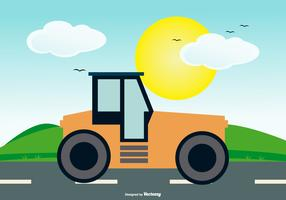 Road Roller on Landscape Background