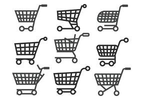 Supermarket cart vector set