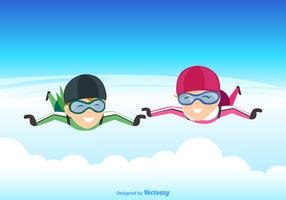 Vector Illustration Of A Skydiving Couple