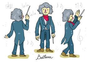 Ludwig van Beethoven Music Conductor Hand Drawn Vector Illustration