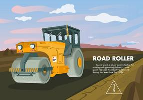 Road Roller Tractor Vector Illustration
