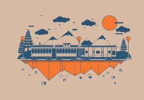 Caboose with Mountain Background Vector