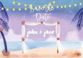 Beach Night Wedding Invitation Watercolor Vector