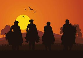 Musketeers Sunset Silhouette Free Vector